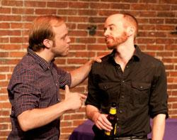 Ryan Edlinger and Michael Avellar star in 'True Believers,' continuing through July 21 at the Factory Theatre