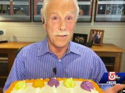 Out anchor Randy Price's farewell message, complete with retirement cake