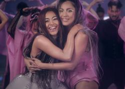 """Ariana Grande, left, and Lady Gaga, right, in the """"Rain on Me"""" music video."""