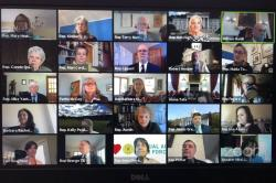 In this April 23, 2020 file photo, members of the Vermont House of Representatives convene in a Zoom video conference for its first full parliamentary online session in Montpelier, Vt.