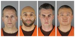 This combination of photos provided by the Hennepin County Sheriff's Office in Minnesota on Wednesday, June 3, 2020, shows Derek Chauvin, from left, J. Alexander Kueng, Thomas Lane and Tou Thao