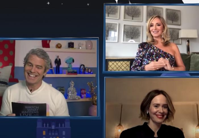 """Left, Andy Cohen, with Sonja Morgan, top right, and Sarah Paulson, bottom right, on """"Watch What Happens Live."""""""