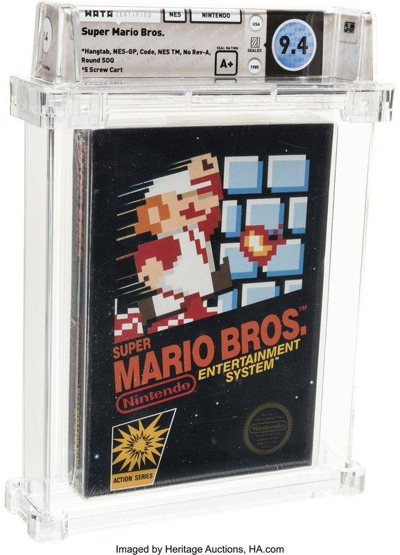This photo provided by Heritage Auctions on Saturday, July 11, 2020, shows the front of an unopened copy of a vintage Super Mario Bros. video game that has been sold for $114,000 in an auction that underscored the enduring popularity of entertainment created decades earlier