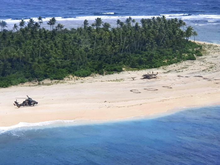 An Australian Army helicopter lands on Pikelot Island in the Federated States of Micronesia.