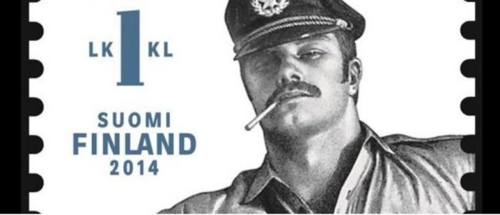 A close-up of a Tom of Finland stamp, released by the Finnish government in 2014 the Finnish government in
