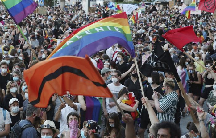 LGBT rights supporters protest in Warsaw, Poland.