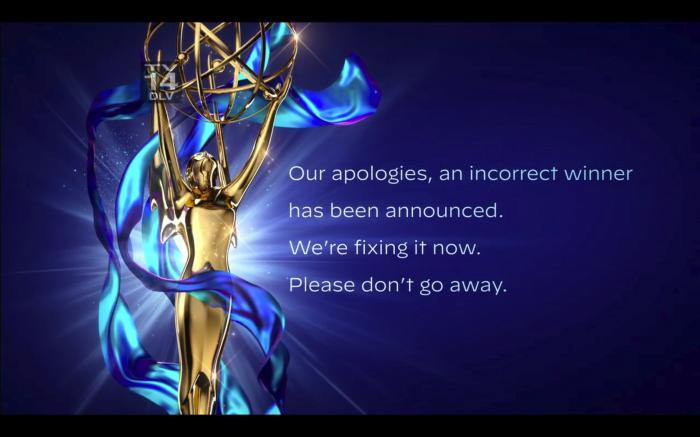 In this video grab issued Saturday, Sept. 19, 2020 by The Television Academy, an apology is issued after the winner of the award for outstanding guest actor in a drama series was incorrectly announced during the 2020 Creative Arts Emmy Awards. (The Television Academy via AP)