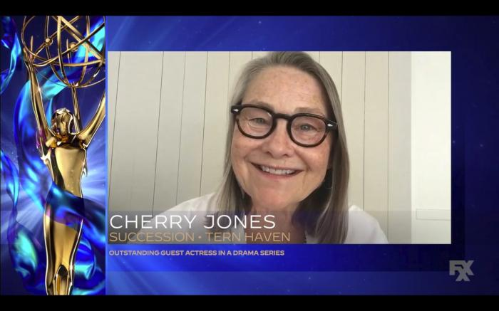 "In this video grab issued Saturday, Sept. 19, 2020 by The Television Academy, Cherry Jones accepts the award for outstanding guest actress in a drama series for ""Succession"" during the 2020 Creative Arts Emmy Awards. (The Television Academy via AP)"