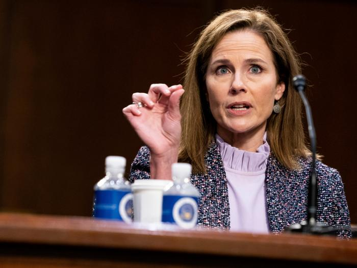 Supreme Court nominee Amy Coney Barrett speaks during a confirmation hearing before the Senate Judiciary Committee, Wednesday, Oct. 14, 2020, on Capitol Hill in Washington