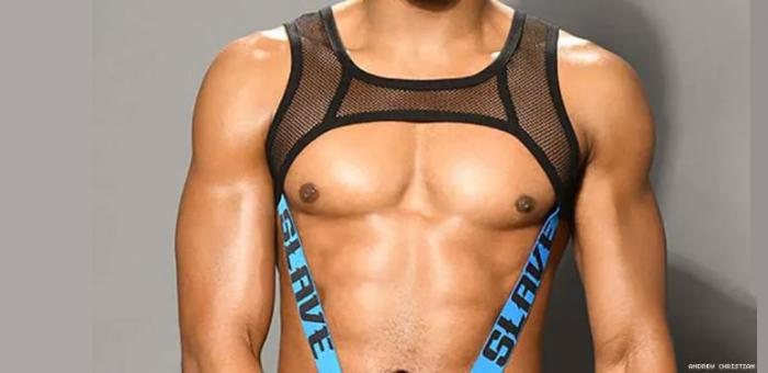 """The pic used to promote the """"Slave Net C-Ring Harness"""" on the Andrew Christian website that featured a model of color"""