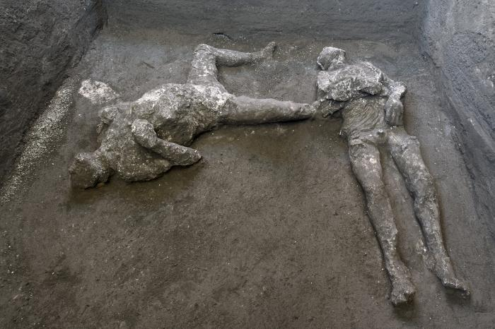The casts of what are believed to have been a rich man and his male slave fleeing the volcanic eruption of Vesuvius nearly 2,000 years ago