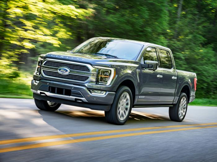 This photo provided by Ford Motor Co. shows the 2021 Ford F-150, a light-duty pickup truck with an upgraded interior, plus available hybrid and onboard generator options