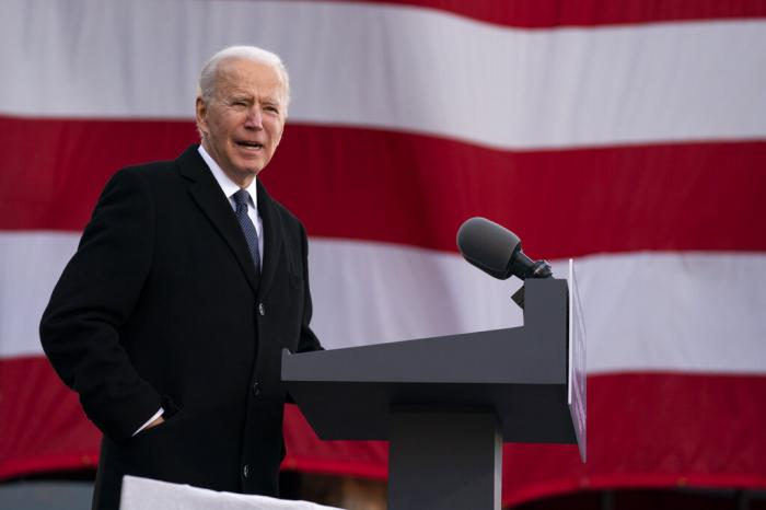 "President-elect Joe Biden speaks at the Major Joseph R. ""Beau"" Biden III National Guard/Reserve Center, Tuesday, Jan. 19, 2021."