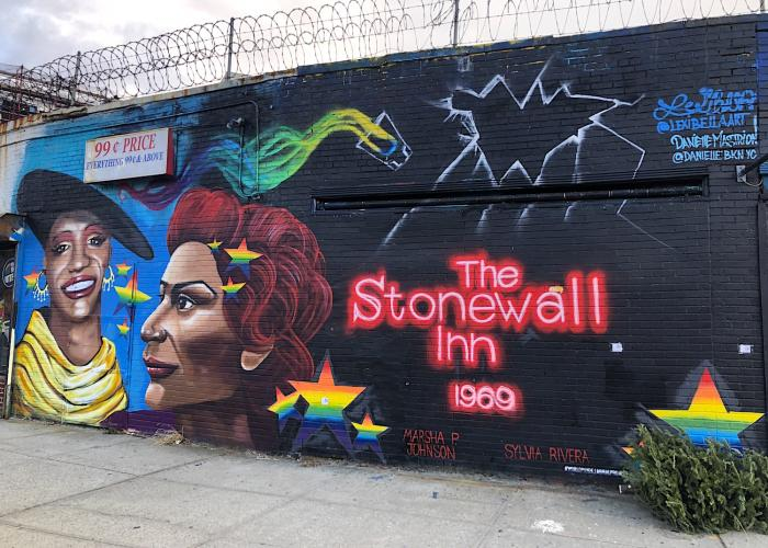 Marsha P. Johnson and Sylvia Rivera depicted on a mural at the Welling Court Mural Project.
