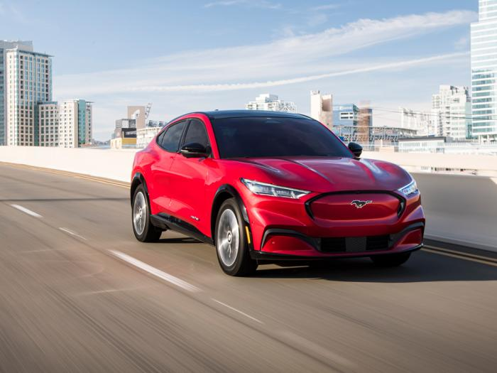 This photo provided by Ford shows the 2021 Ford Mustang Mach-E, an all-new compact electric compact SUV
