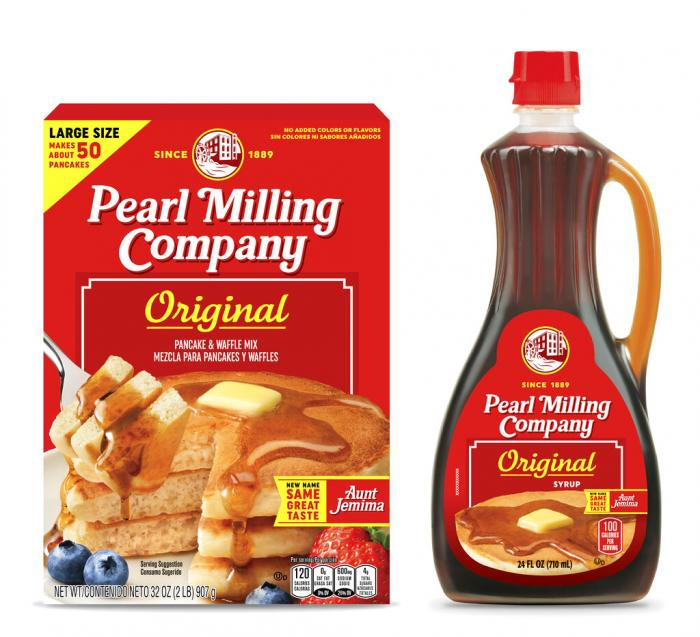 Quaker Oats' Pearl Milling Company brand pancake mix and syrup, formerly the Aunt Jemima brand.