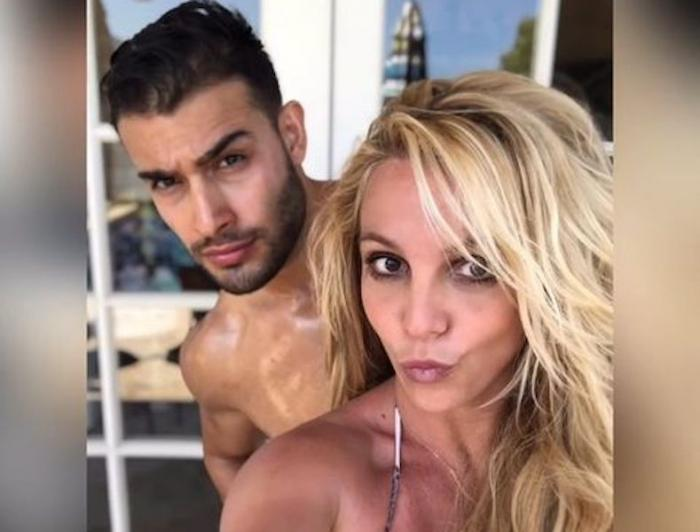 Sam Asgharil, left, with Britney Spears, right.