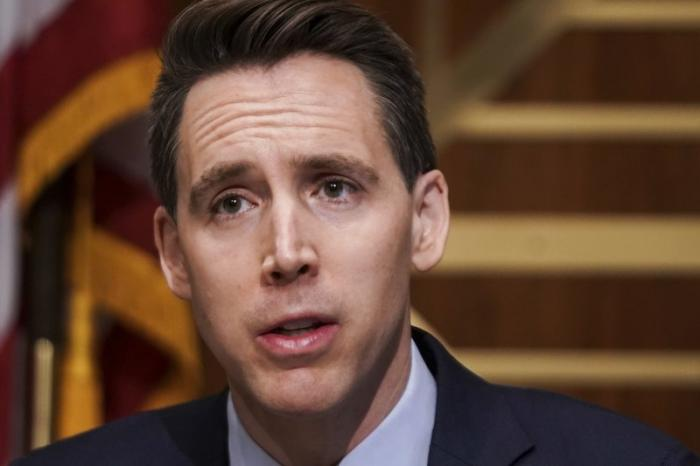 Sen. Josh Hawley, R-Mo., asks questions during a Senate Homeland Security & Governmental Affairs Committee hearing.