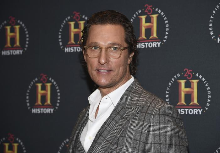 "In this Feb. 29, 2020, file photo actor Matthew McConaughey attends A+E Network's ""HISTORYTalks: Leadership and Legacy"" in New York"