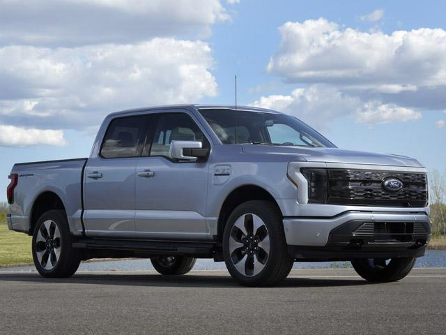 A pre-production Ford F-150 Lightning is shown in Bruce Township, Mich., May 12, 2021