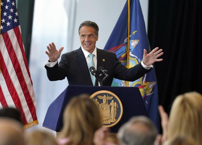 New York Gov. Andrew Cuomo speaks about the lifting of COVID-19 restrictions during a news conference at One World Trade.