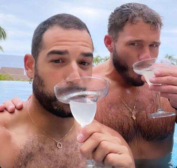 Johnny Sibilly, left, with Colton Underwood, right.