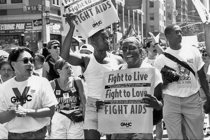 Activists from GMHC in front of the Stonewall Inn, 1994.