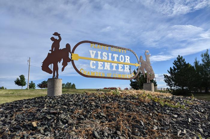 The Platte County, Wyoming, visitor center and Chamber of Commerce are on the southern edge of Wheatland.