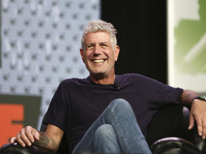 In this Sunday, March 13, 2016, file photo Anthony Bourdain speaks during South By Southwest at the Austin Convention Center, in Austin, Texas
