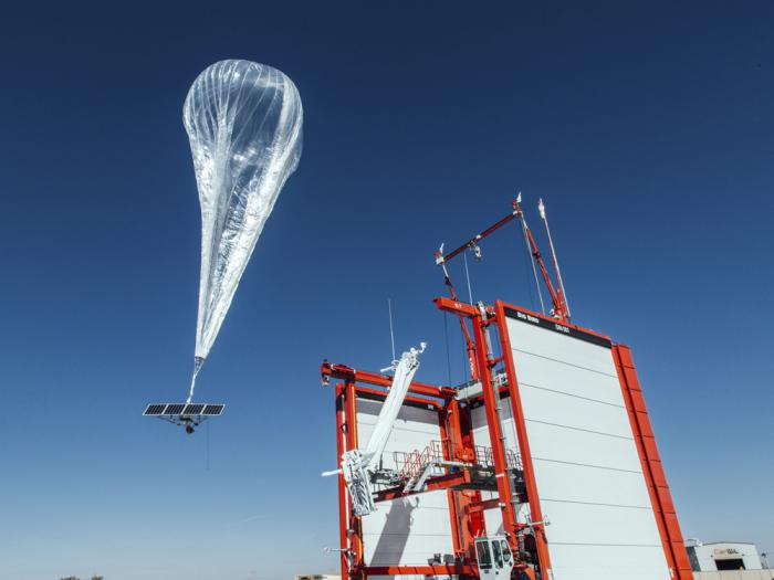 This Wednesday, Oct. 18, 2017, file photo provided by Project Loon shows a stratospheric balloon taking off for Puerto Rico from a project site in Winnemucca, Nev.