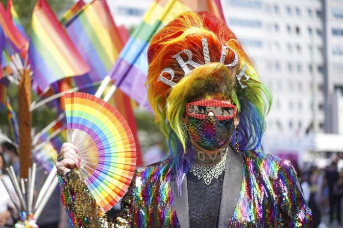 Jerome Champagne takes part in the Christopher Street Day (CSD) parade, in Berlin, Saturday, July 24, 2021.