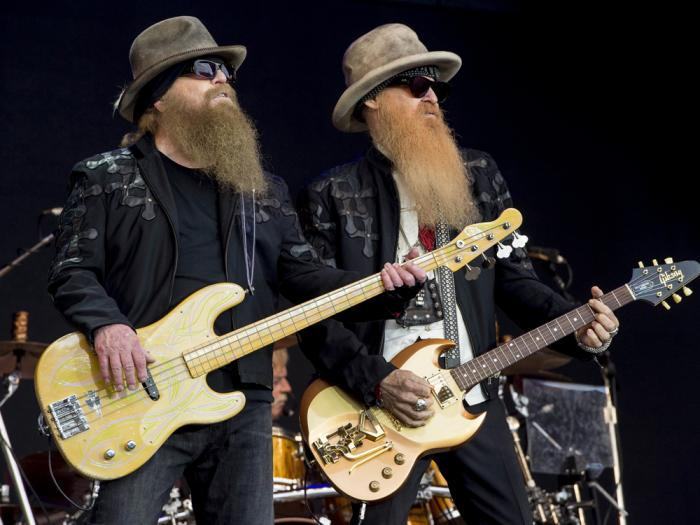Dusty Hill, left, and Billy Gibbons from U.S rock band ZZ Top perform at the Glastonbury music festival in Somerset, England, June 24, 2016