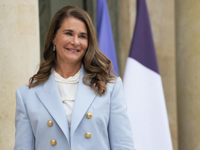 In this Thursday, July 1, 2021, file photo, Melinda Gates, co-chair of the Bill and Melinda Gates Foundation, poses for photographers as she arrives for a meeting after a meeting on the sideline of the gender equality conference at the Elysee Palace in Paris