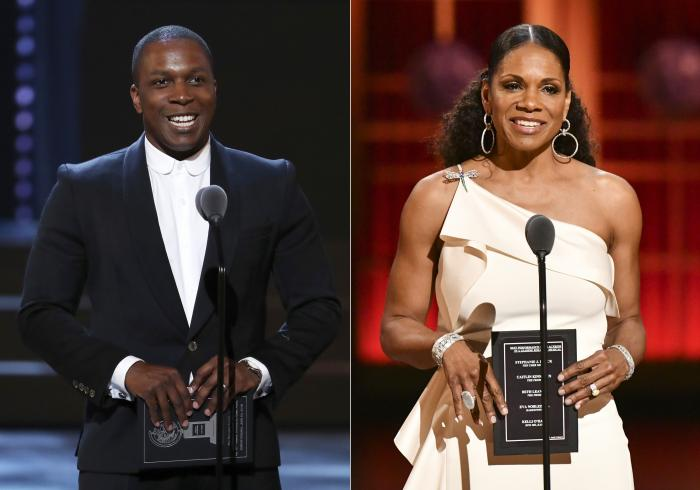 Leslie Odom Jr. presents an award at the 72nd annual Tony Awards, left, and Audra McDonald presents an award at the 73rd annual Tony Awards, right.