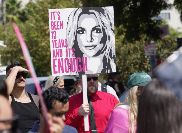 Britney Spears supporters demonstrate outside the Stanley Mosk Courthouse.